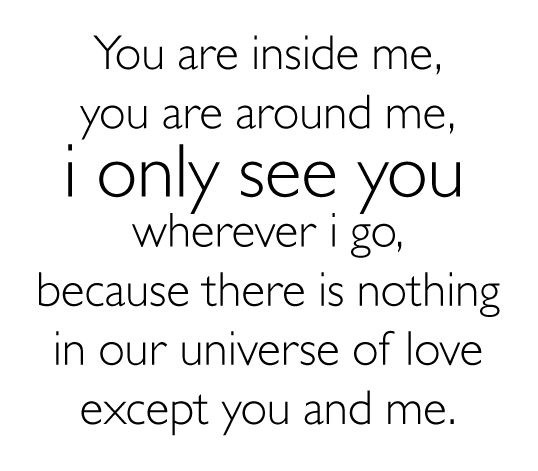 You are inside me, you are around me, I only see you wherever I go, because there is nothing in our universe of love except you and me Picture Quote #1