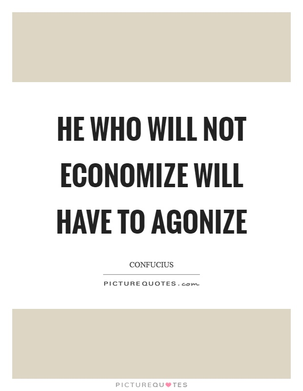He who will not economize will have to agonize Picture Quote #1