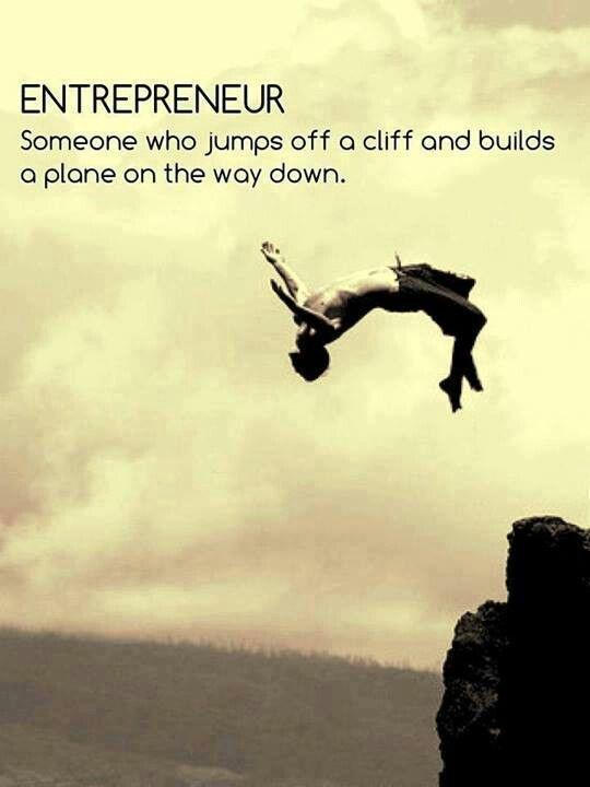 Entrepreneur. Someone who jumps off a cliff and builds a plane on the way down Picture Quote #1