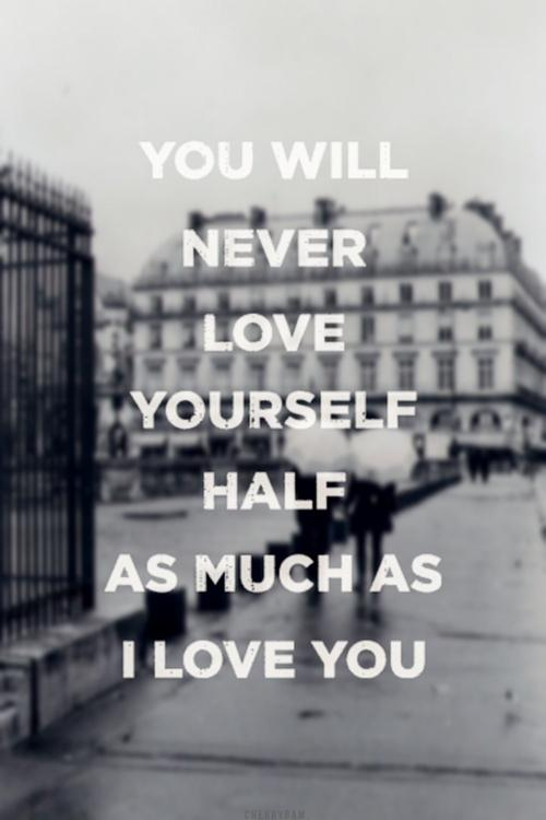 You will never love yourself half as much as I love you Picture Quote #1