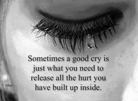 Sometimes a good cry is just what you need to release all the hurt you have built up inside Picture Quote #1