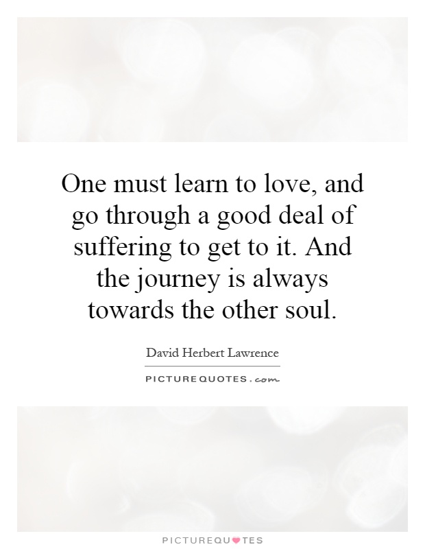 One must learn to love, and go through a good deal of suffering to get to it. And the journey is always towards the other soul Picture Quote #1