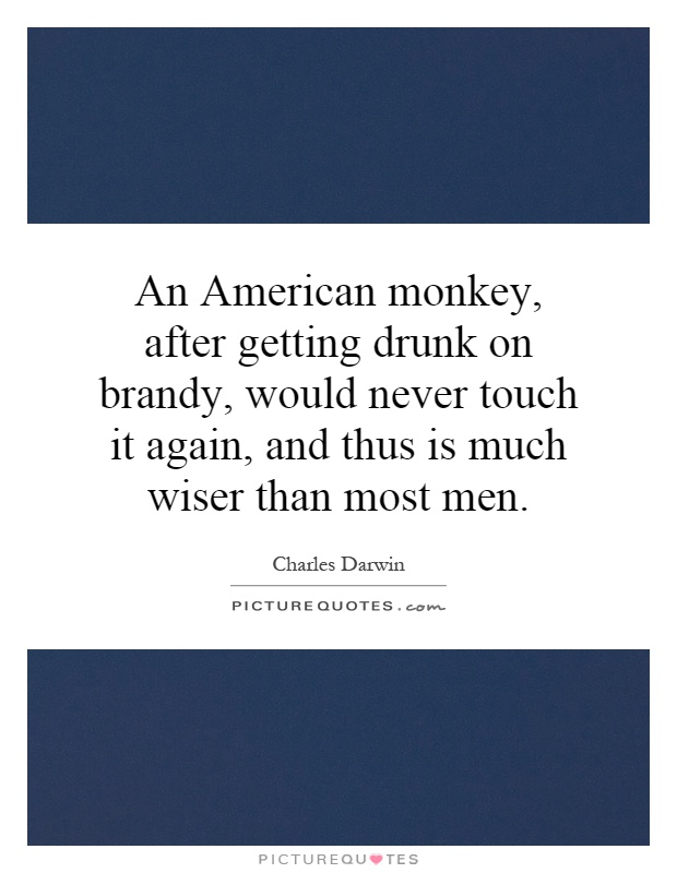 An American monkey, after getting drunk on brandy, would never touch it again, and thus is much wiser than most men Picture Quote #1