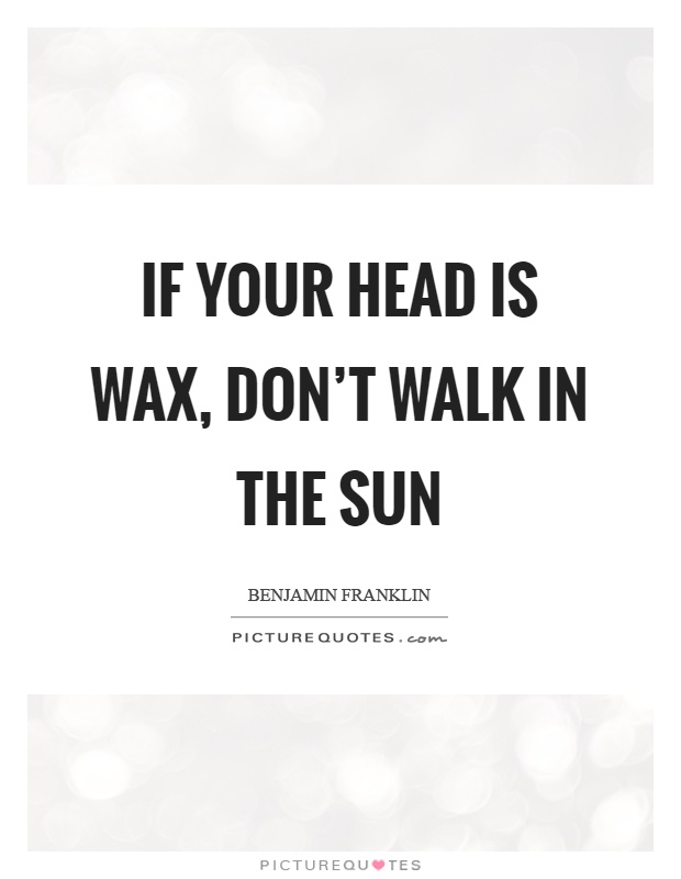 If your head is wax, don't walk in the sun Picture Quote #1