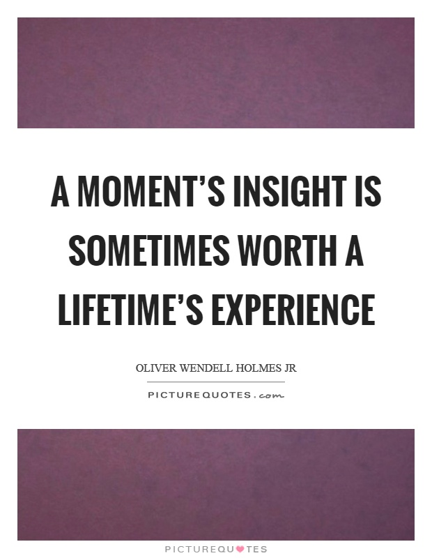 A moment's insight is sometimes worth a lifetime's experience Picture Quote #1