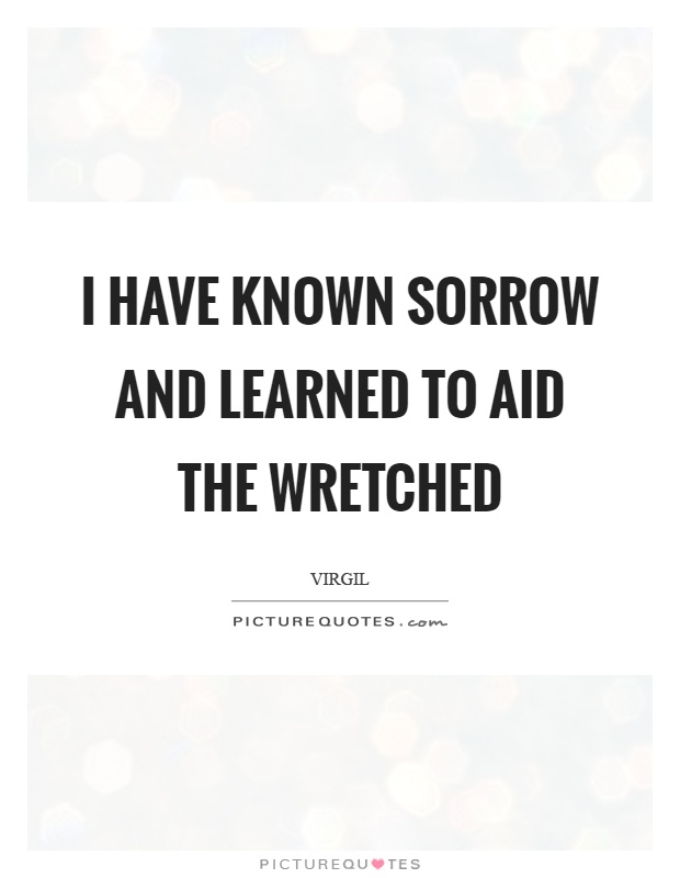 I have known sorrow and learned to aid the wretched Picture Quote #1