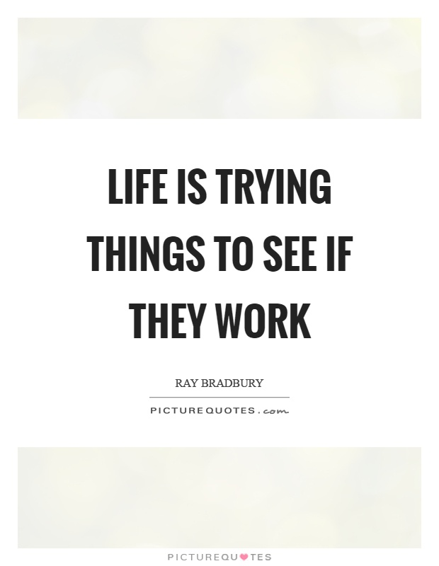 Life is trying things to see if they work Picture Quote #1