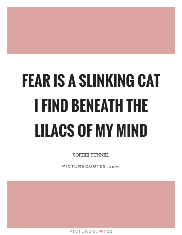Fear is a slinking cat I find beneath the lilacs of my mind Picture Quote #1