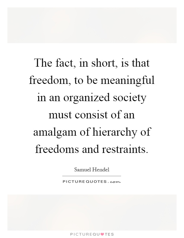 The fact, in short, is that freedom, to be meaningful in an organized society must consist of an amalgam of hierarchy of freedoms and restraints Picture Quote #1