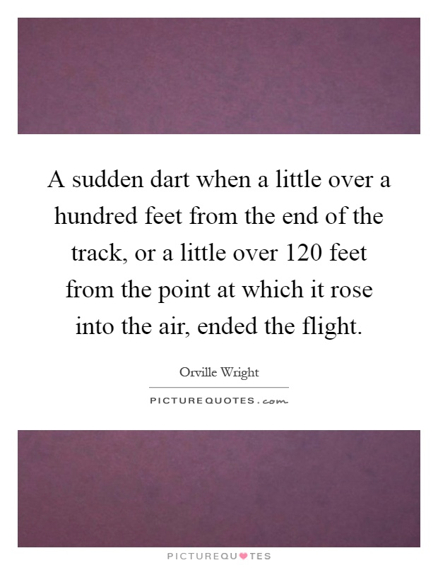 A sudden dart when a little over a hundred feet from the end of the track, or a little over 120 feet from the point at which it rose into the air, ended the flight Picture Quote #1