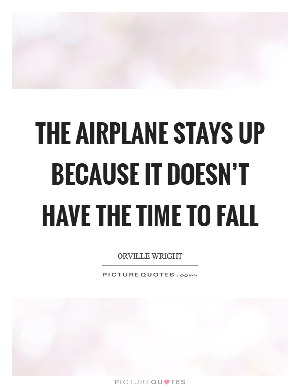 The airplane stays up because it doesn't have the time to fall Picture Quote #1