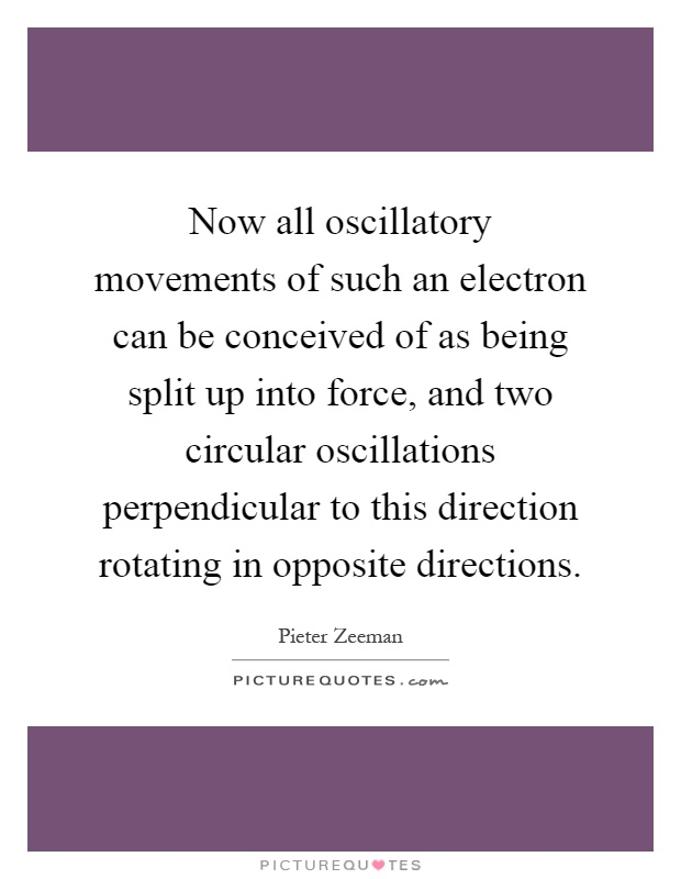 Now all oscillatory movements of such an electron can be conceived of as being split up into force, and two circular oscillations perpendicular to this direction rotating in opposite directions Picture Quote #1