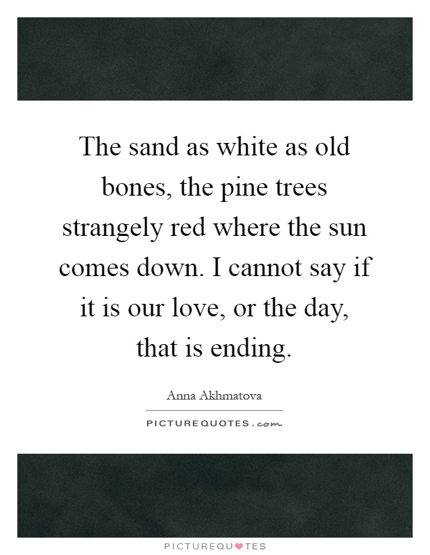 The sand as white as old bones, the pine trees strangely red where the sun comes down. I cannot say if it is our love, or the day, that is ending Picture Quote #1