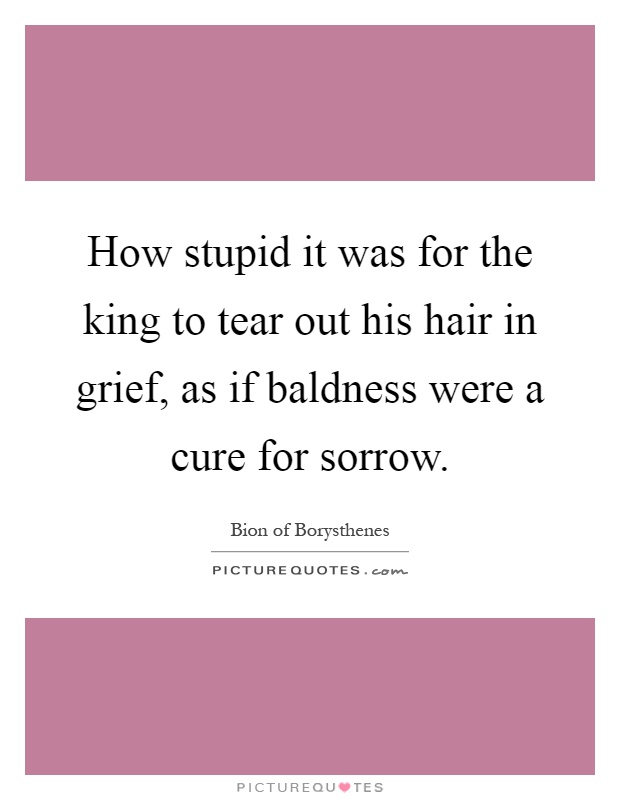 How stupid it was for the king to tear out his hair in grief, as if baldness were a cure for sorrow Picture Quote #1