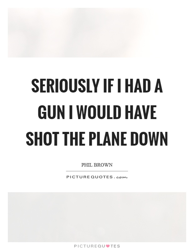 Seriously if I had a gun I would have shot the plane down Picture Quote #1