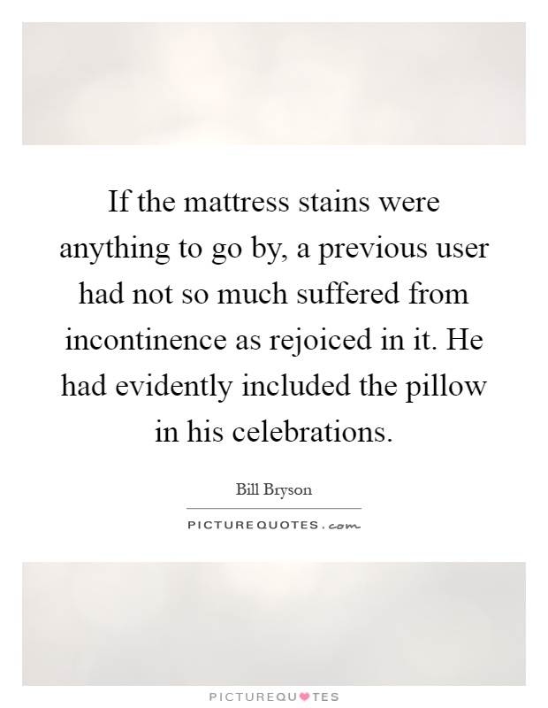 If the mattress stains were anything to go by, a previous user had not so much suffered from incontinence as rejoiced in it. He had evidently included the pillow in his celebrations Picture Quote #1