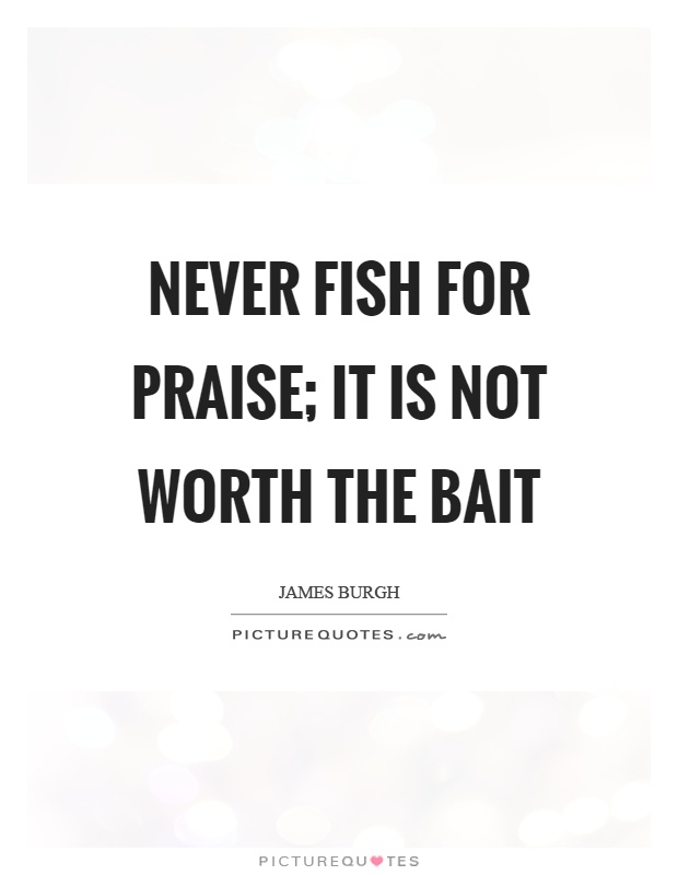 Never fish for praise; it is not worth the bait Picture Quote #1