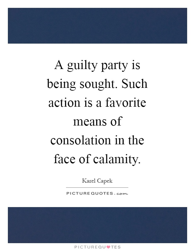 A guilty party is being sought. Such action is a favorite means of consolation in the face of calamity Picture Quote #1