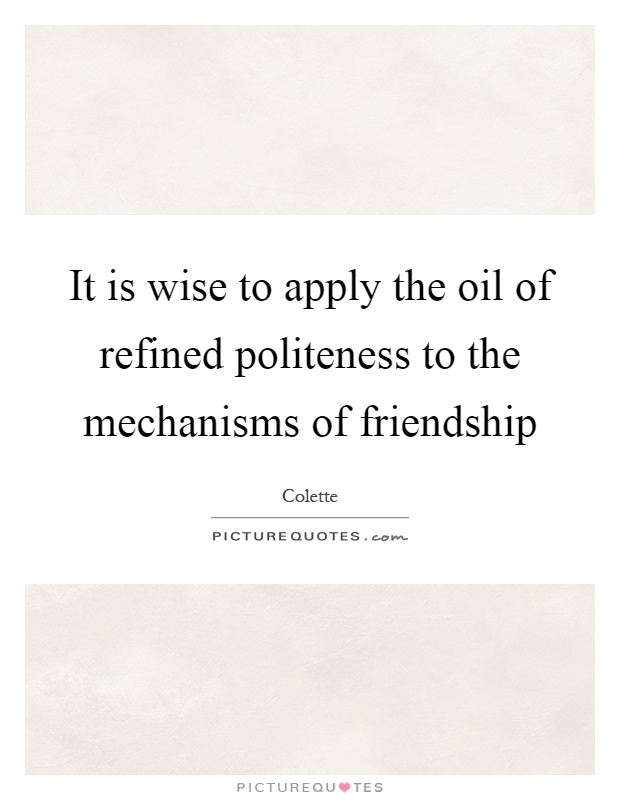 It is wise to apply the oil of refined politeness to the mechanisms of friendship Picture Quote #1