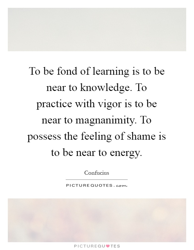 To be fond of learning is to be near to knowledge. To practice with vigor is to be near to magnanimity. To possess the feeling of shame is to be near to energy Picture Quote #1