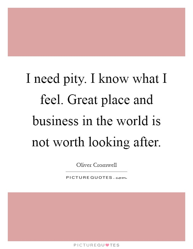 I Need Pity I Know What I Feel Great Place And Business In The Picture Quotes