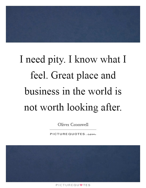 I need pity. I know what I feel. Great place and business in the world is not worth looking after Picture Quote #1