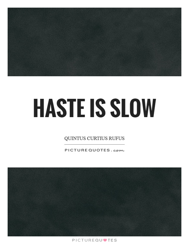 Haste is slow Picture Quote #1