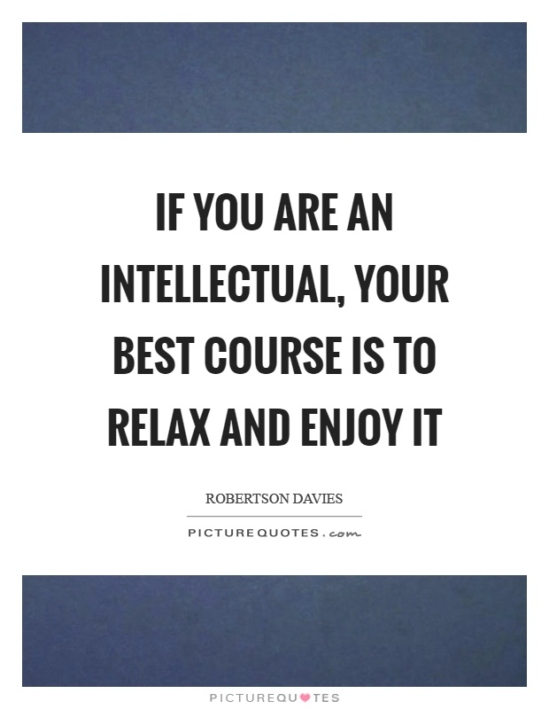 If you are an intellectual, your best course is to relax and enjoy it Picture Quote #1