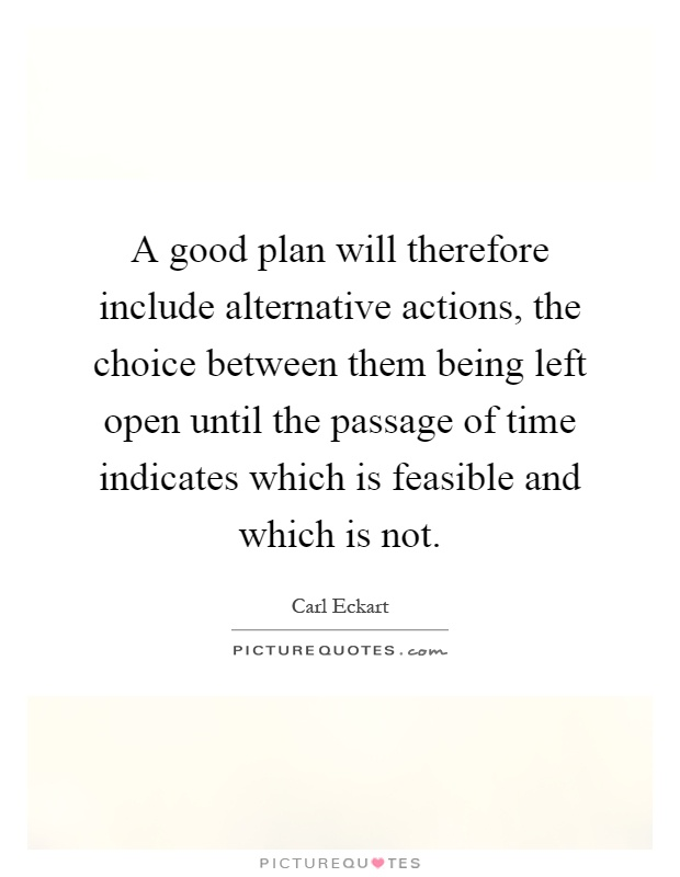 A good plan will therefore include alternative actions, the choice between them being left open until the passage of time indicates which is feasible and which is not Picture Quote #1