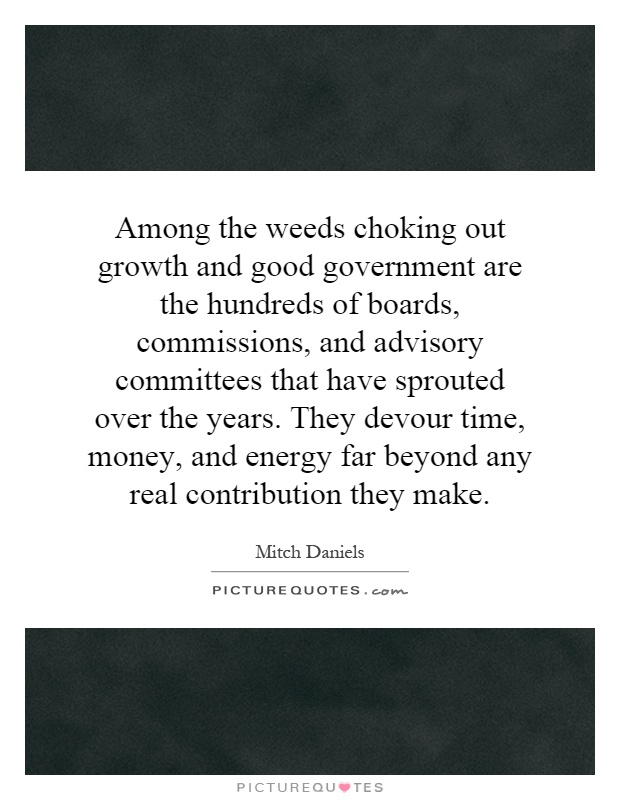 Among the weeds choking out growth and good government are the hundreds of boards, commissions, and advisory committees that have sprouted over the years. They devour time, money, and energy far beyond any real contribution they make Picture Quote #1