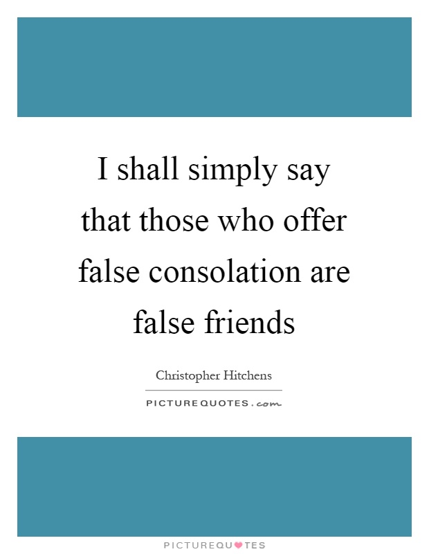 I shall simply say that those who offer false consolation are false friends Picture Quote #1