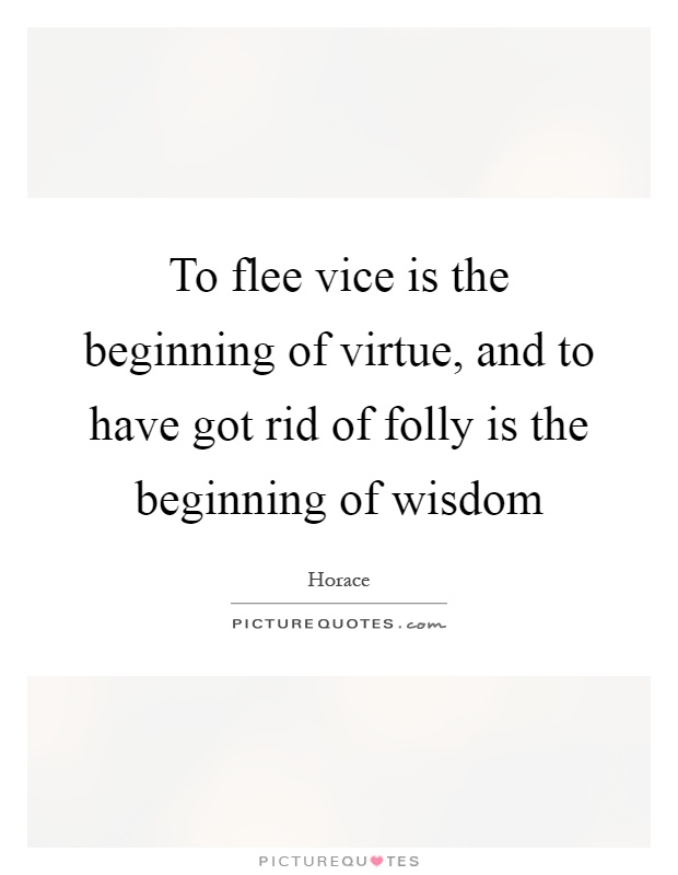 To flee vice is the beginning of virtue, and to have got rid of folly is the beginning of wisdom Picture Quote #1