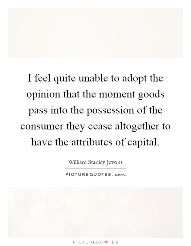I feel quite unable to adopt the opinion that the moment goods pass into the possession of the consumer they cease altogether to have the attributes of capital Picture Quote #1