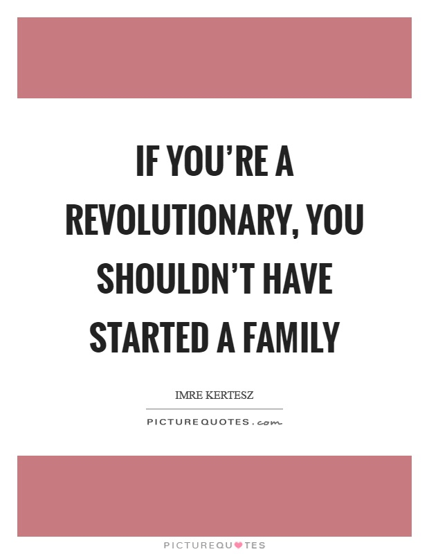 If you're a revolutionary, you shouldn't have started a family Picture Quote #1
