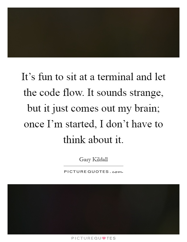 It's fun to sit at a terminal and let the code flow. It sounds strange, but it just comes out my brain; once I'm started, I don't have to think about it Picture Quote #1