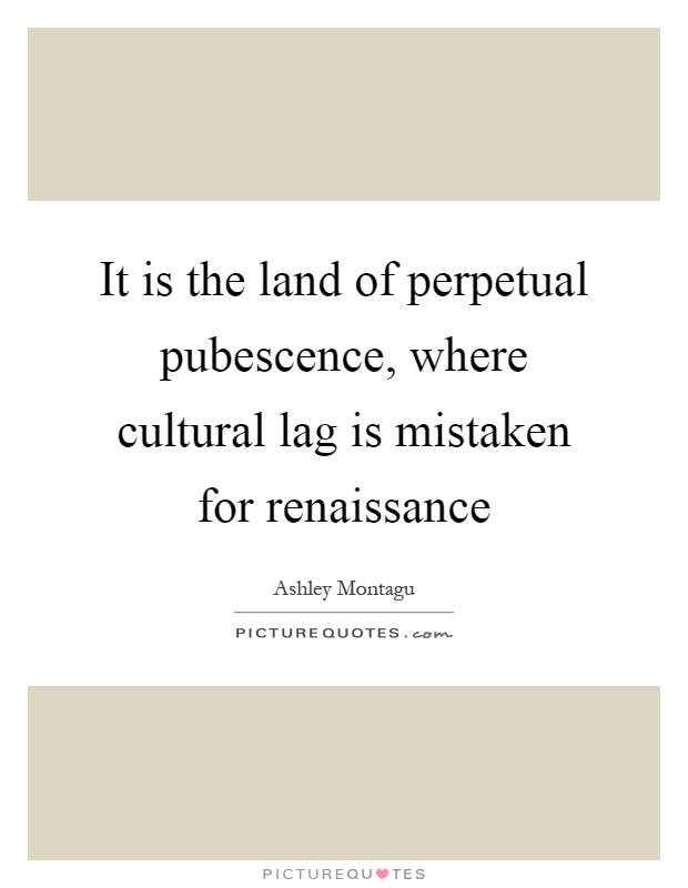 It is the land of perpetual pubescence, where cultural lag is mistaken for renaissance Picture Quote #1
