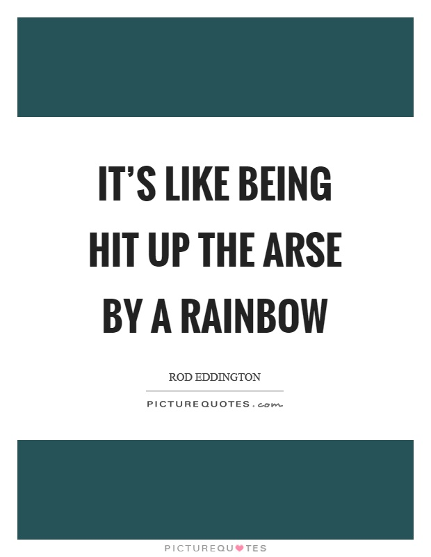 It's like being hit up the arse by a rainbow Picture Quote #1