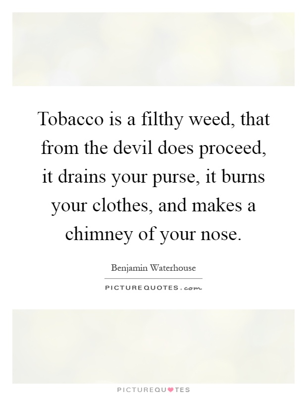 Tobacco is a filthy weed, that from the devil does proceed, it drains your purse, it burns your clothes, and makes a chimney of your nose Picture Quote #1