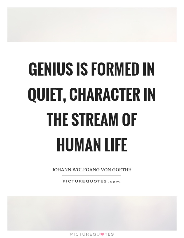 Genius is formed in quiet, character in the stream of human life Picture Quote #1