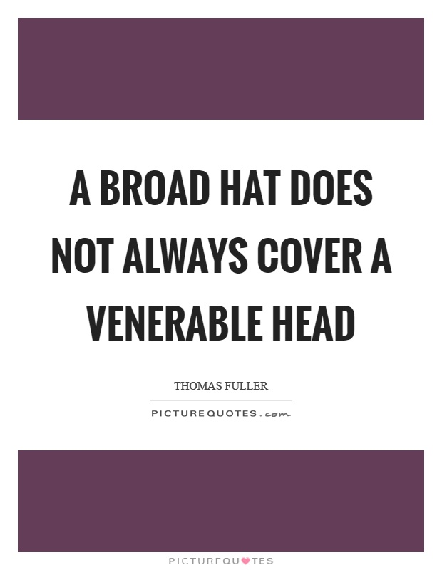 A broad hat does not always cover a venerable head Picture Quote #1