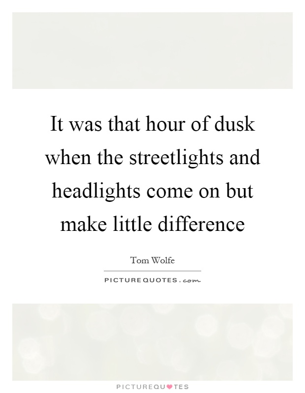 It was that hour of dusk when the streetlights and headlights come on but make little difference Picture Quote #1