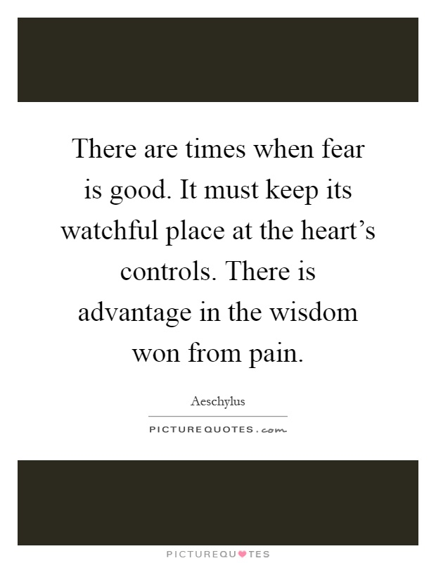 There are times when fear is good. It must keep its watchful place at the heart's controls. There is advantage in the wisdom won from pain Picture Quote #1