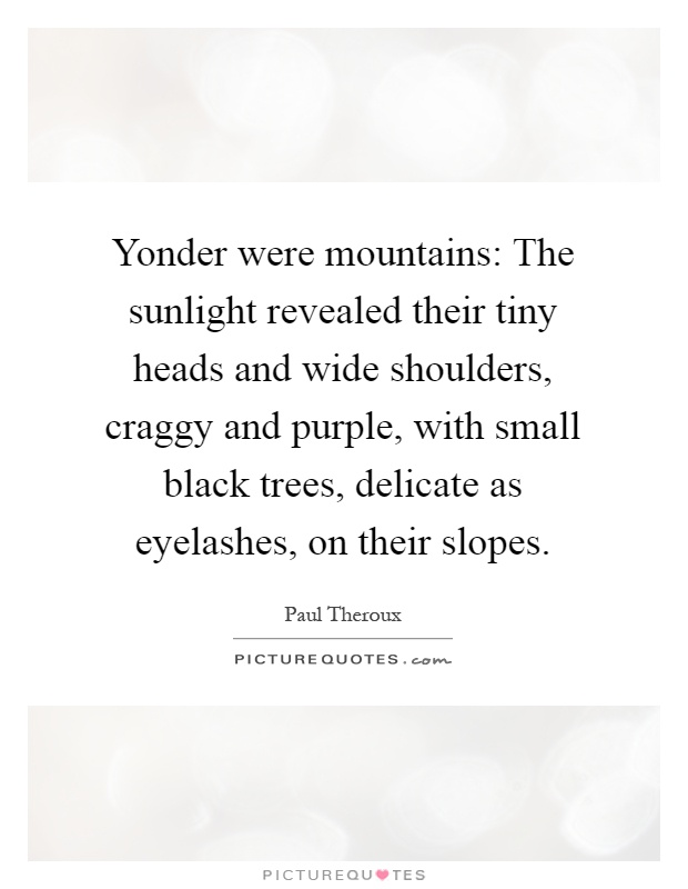 Yonder were mountains: The sunlight revealed their tiny heads and wide shoulders, craggy and purple, with small black trees, delicate as eyelashes, on their slopes Picture Quote #1