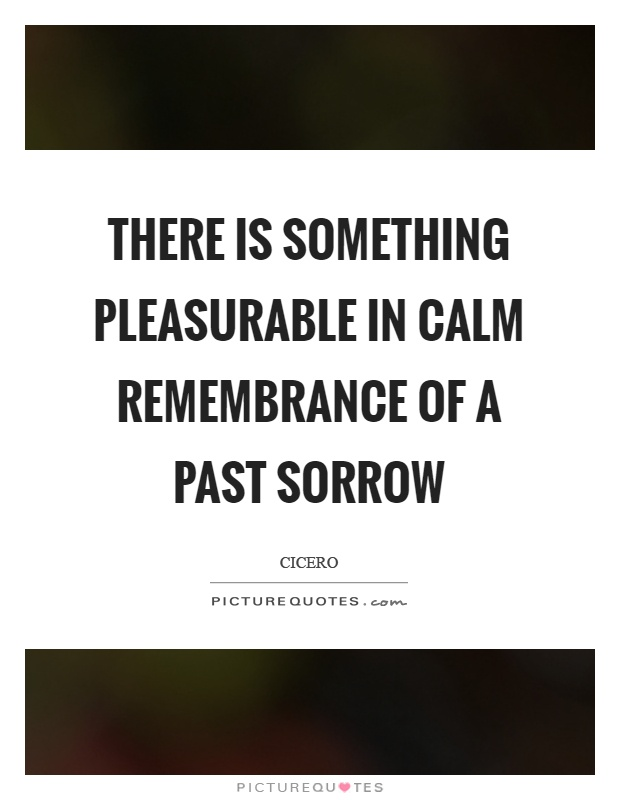 There is something pleasurable in calm remembrance of a past sorrow Picture Quote #1