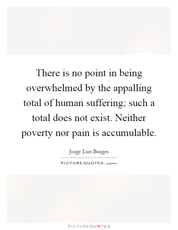 There is no point in being overwhelmed by the appalling total of human suffering; such a total does not exist. Neither poverty nor pain is accumulable Picture Quote #1