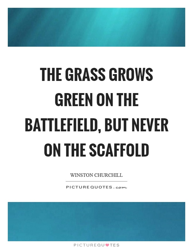 The grass grows green on the battlefield, but never on the scaffold Picture Quote #1