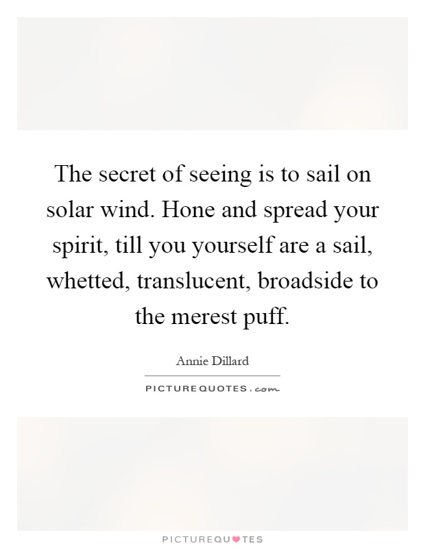 The secret of seeing is to sail on solar wind. Hone and spread your spirit, till you yourself are a sail, whetted, translucent, broadside to the merest puff Picture Quote #1