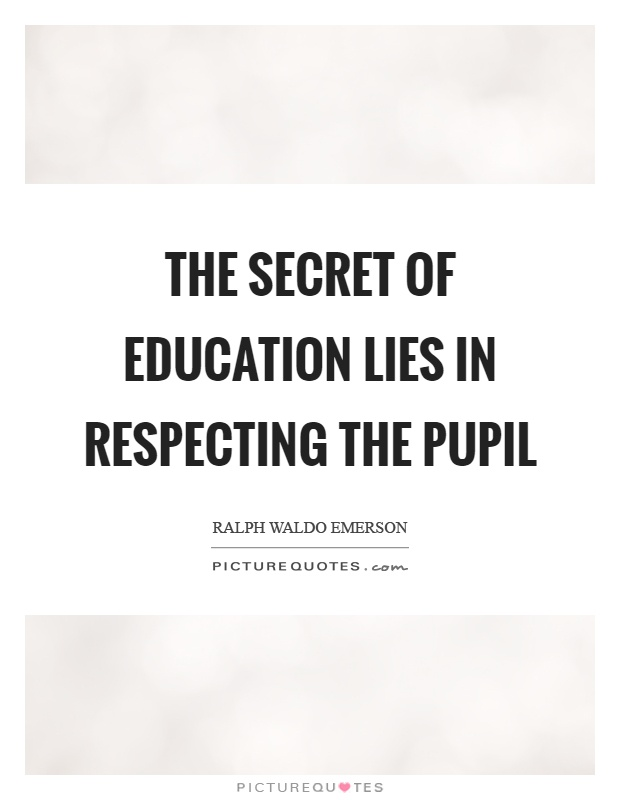 The secret of education lies in respecting the pupil Picture Quote #1