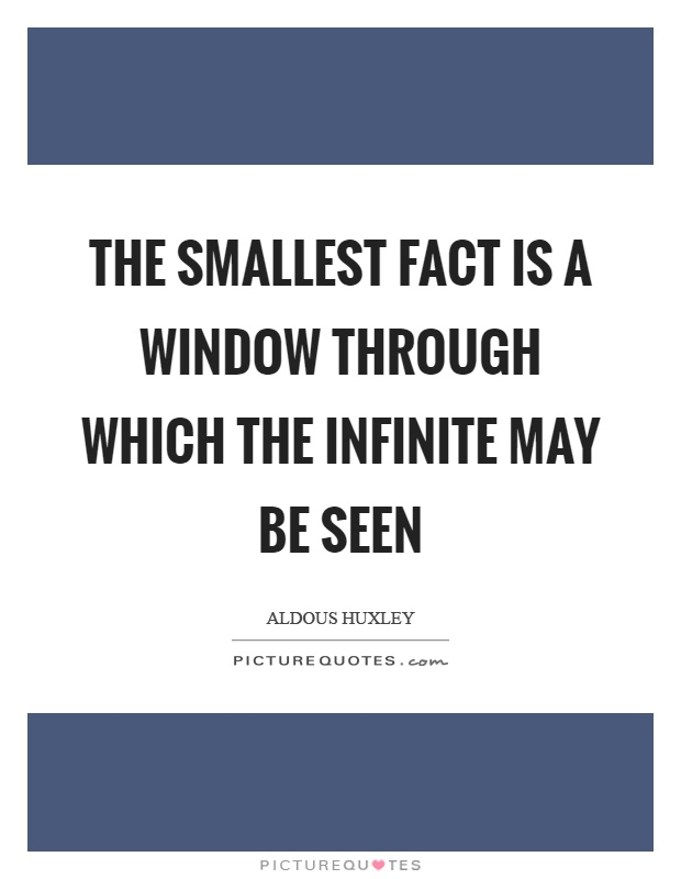 The smallest fact is a window through which the infinite may be seen Picture Quote #1