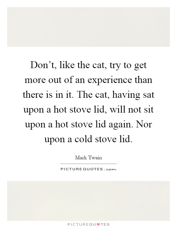 Don't, like the cat, try to get more out of an experience than there is in it. The cat, having sat upon a hot stove lid, will not sit upon a hot stove lid again. Nor upon a cold stove lid Picture Quote #1